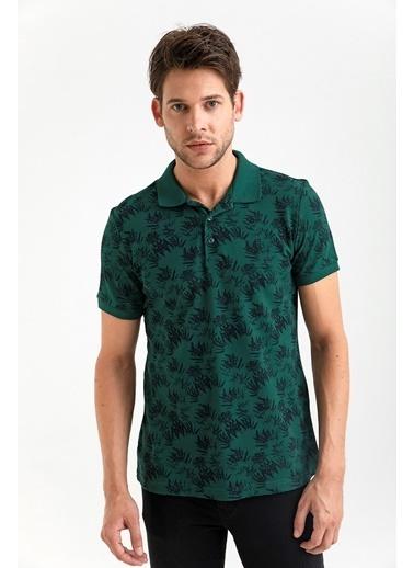 Avva Erkek  Polo Yaka Baskılı Tişört A01Y1128 Yeşil